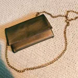 NWOT Gold Faux Leather Crossbody Wallet